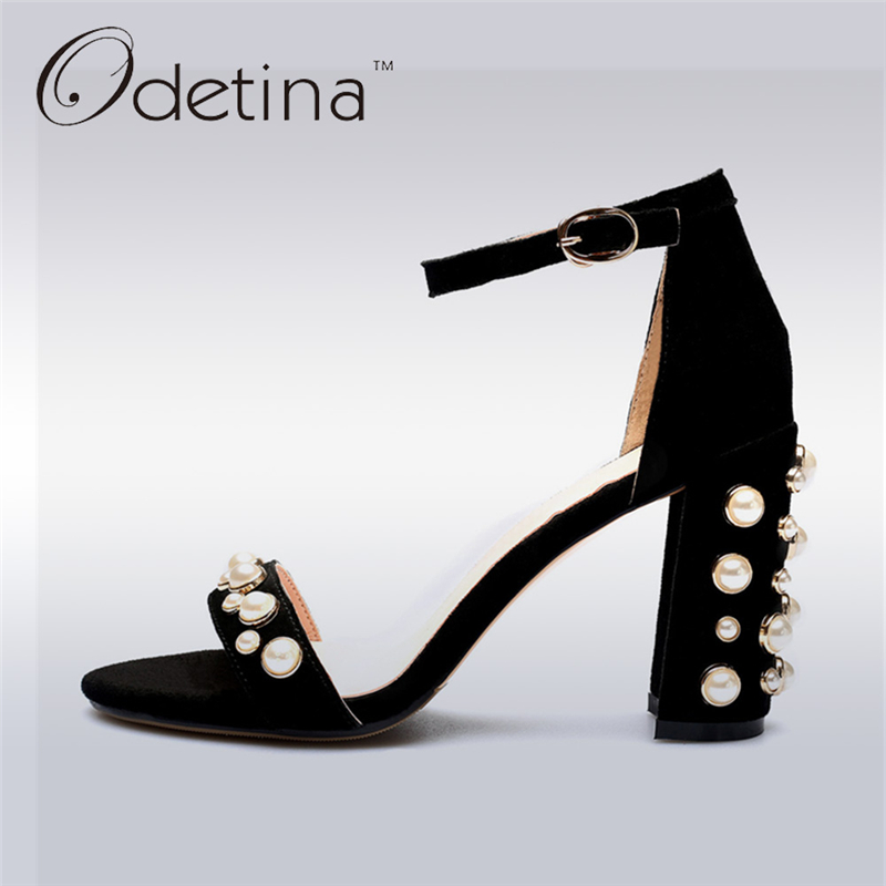 Odetina 2017 New Fashion Genuine Leather Suede Woman High Heel Ankle Strap Sandals Square Heels Pearl Summer Shoe Big Size 34-43 цены онлайн