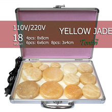NEW Tontin 18pcs/set yellow jade body massage hot stone beauty salon SPA tool with heating box 110V or 220V ysgyp-nls massage stone box massageador beauty stone new wholesale electrical heating 220v spa hot energy stone 22pcs set with heat box