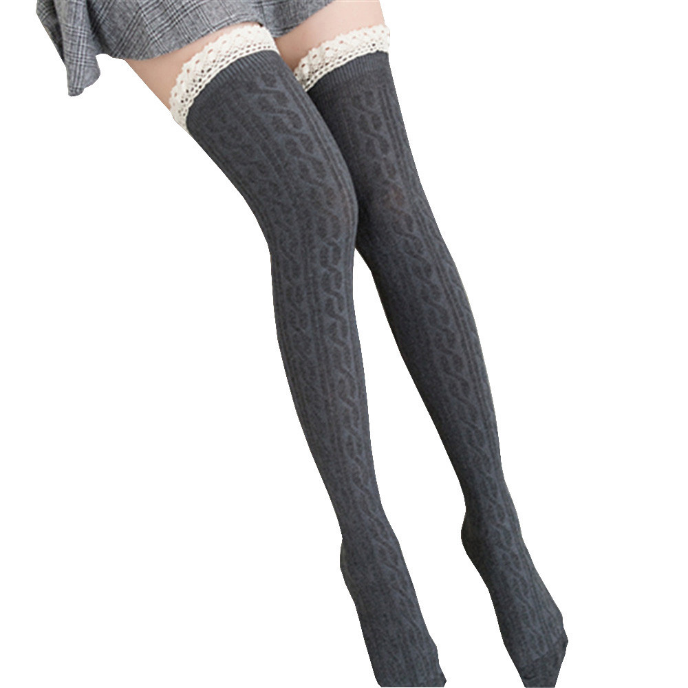 Hot Women Solid Long Stocking Lace Boot Cuffs Warmer Cotton Blend Ladies Girls Autumn Winter Leg Long Tube Stockings  SA60