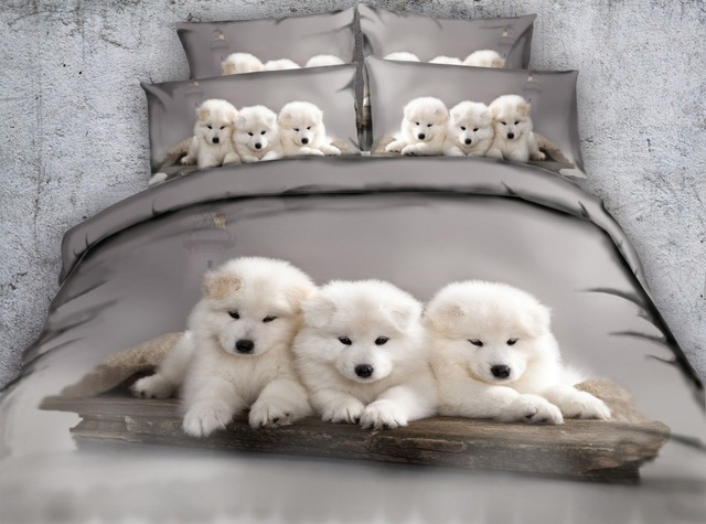 Jf 369 Three Lovely Puppies Printed Duvet Cover Set 4pcs Dog Puppy