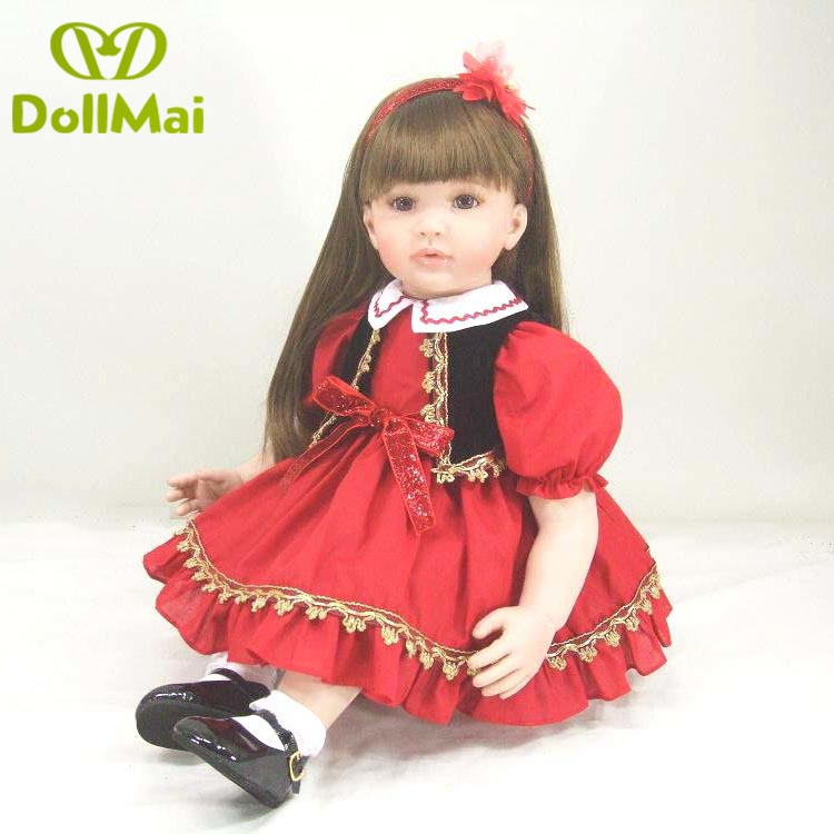 23inch 58cm Bebe Reborn Doll Soft Silicone Boy Girl Toy Reborn Baby Doll Gift for Children red Dress cute Princess23inch 58cm Bebe Reborn Doll Soft Silicone Boy Girl Toy Reborn Baby Doll Gift for Children red Dress cute Princess