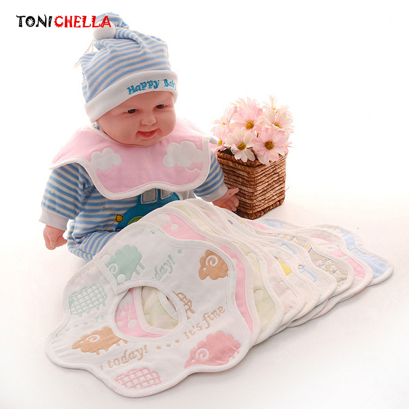 Baby Bibs Newborn Cartoon Six Layer 360 Degree Rotating Petal Cotton Toddler Infant Waterproof Scarf Saliva Feeding Towel CL5035