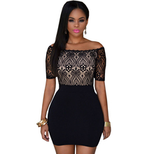 QianYan Women Dress Cheap-clothes-china Dresses Black Lace Top Off Shoulder Mini Dress QY10147