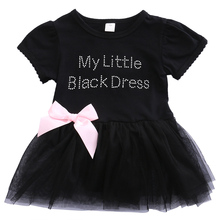 Pudcoco Baby Girls Summer Dress Embroidered My Little Black