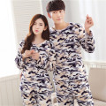 Couples pajamas suit Flannel Keep warm women/men Large size Leisure Coral cashmere Live wave cute Round neck Home clothing