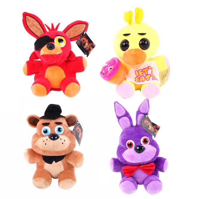 Big Size 17 / 25cm Fem Nights At Freddy Foxy Fazbear Bjørn Fox Freddy Rabbit Duck Dyr Blød Baby Plys Legetøj Fnaf Christmas Gift