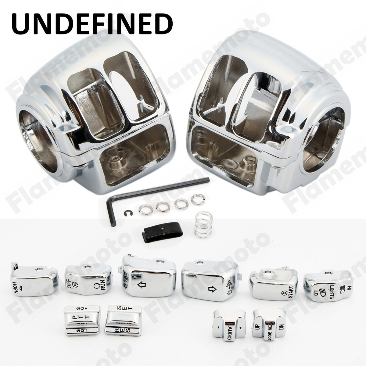 Motorcycle Parts Aluminum Chrome Switch Housing Cover Kit 10 Cap Motorbike For Harley Sportster XL 883