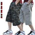 Бесплатная доставка Сверхбольших тонкий хлопок 100% мужская одежда повседневная свободные шорты вскользь маскировочных халатах брюки для 145 кг