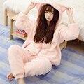 2016 Inverno Quente Mulheres Pijama Fofo Fleece Onesie Pijama Rosa Sleepwear Feminino Com Capuz Pijama Set Mulheres Casa Terno 50