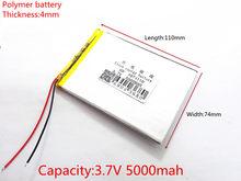 Bateria de polímero de 9 polegadas tablet doméstica a bateria recarregável embutida bateria 5000 mah 4074110 frete grátis
