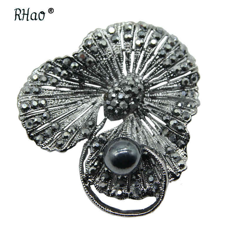09fff65a4f1 RHao Vintage black Crystal plant Flower brooches for Women Men Suit Clothes  Accessories Corsage black Rhinestone