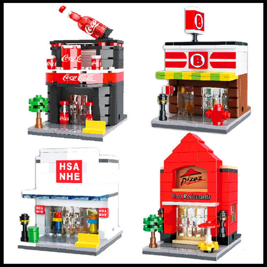 4Pcs/Set Building Block Toys Mini Street Store Micro Pizza Shop Model HSANHE 6412-6415 Gift For Children Compatible Legoe lepin 22001 pirate ship imperial warships model building block briks toys gift 1717pcs compatible legoed 10210