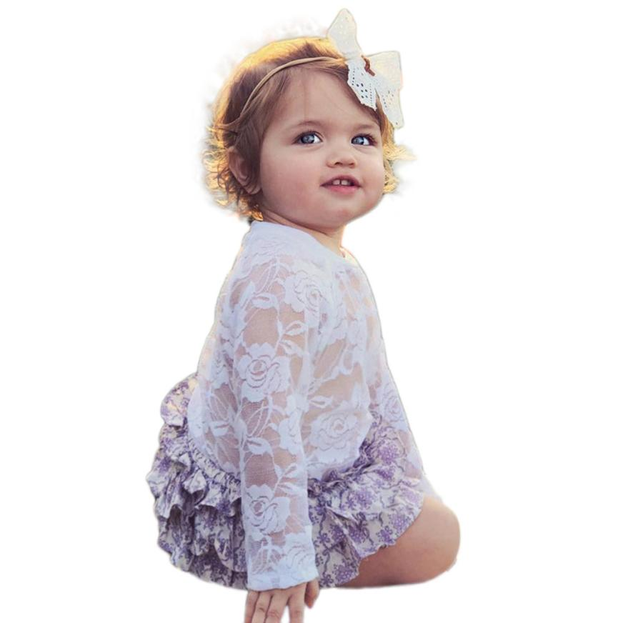 Girls Rompers 2Color Cotton Lace Floral Clothing Full Sleeve O-Collar Onepiece for Casual Kids Sets for Spring&Autumn18Mar30