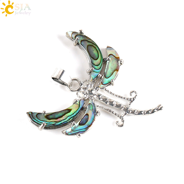 CSJA Natural Paua Abalone Shell Beads Dragonfly Pendants Men Metal Animal Pendant for Necklaces Charms DIy Jewelry Findings E336
