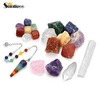 Sunligoo 7 Chakra Raw Crystal Stones,Rough Amethyst Rose Quartz Clear Quartz,Chakra Crystal Pendulum Dowsing,Selenite Crystal St