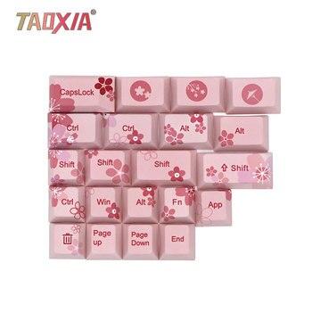 For Cherry Blossom Thermal Sublimation Machinery Keyboard Cap PBT Keyboard Custom Key Cap GH60/GK64/108/68 Keyboard-Caps