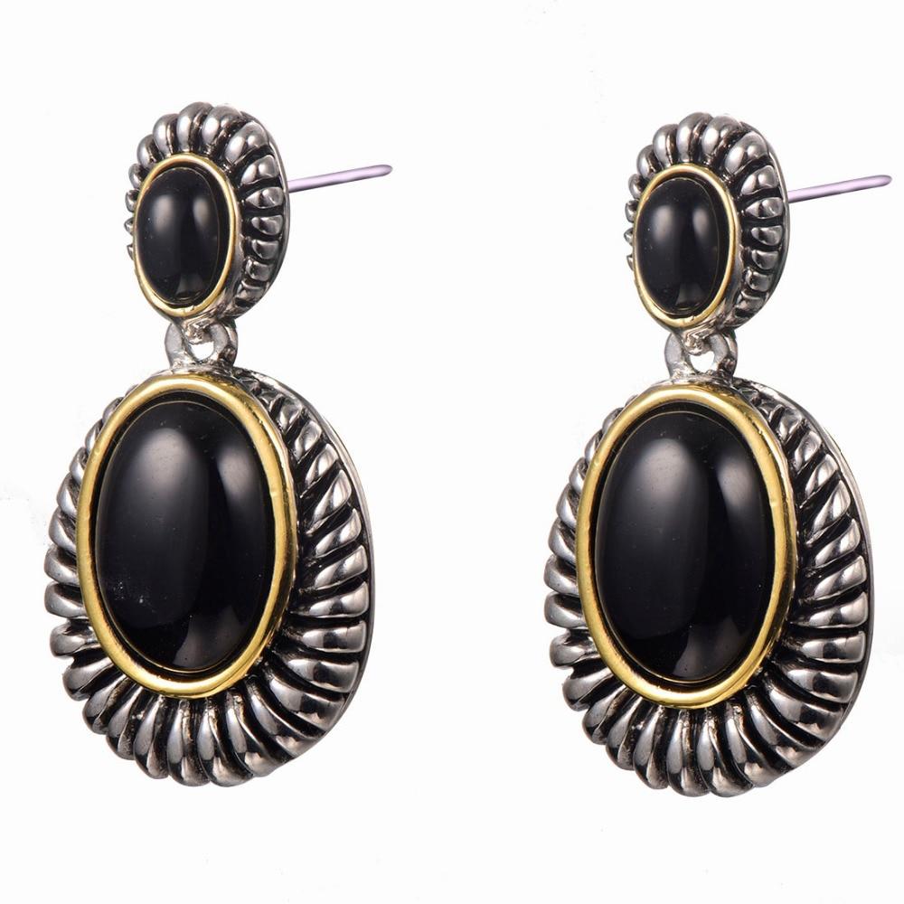 Black onyx Women Earrings 925 Sterling Silver Earrings TE701