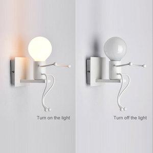 Image 4 - LED קיר אור קטן ברזל איש רכוב על קיר אור E27 בסיס Creative ילדים תינוק חדר שינה מסדרון קיר לילה אור ללא הנורה #