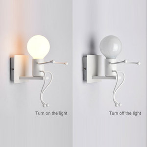 Image 4 - Ledウォールライト小さなアイアンマンに搭載されたウォールライトE27 ベースクリエイティブキッズベビー寝室廊下壁の夜の光なし電球 #