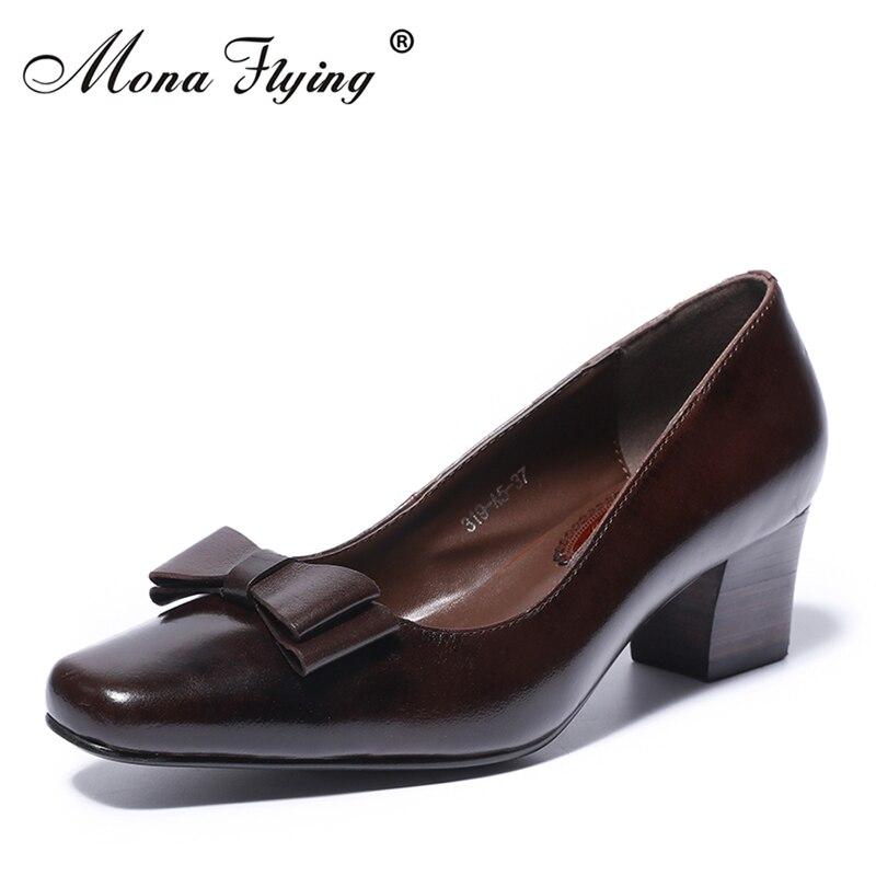 Здесь можно купить  2018 New Women Pumps Shoes Brand Vintage Genuine Leather Women Med heels Dress Shoes for Office Lady Handmade Shoes Women 319-A5  Обувь