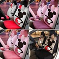 15PCS Luxury winter Short plush Cute Cartoon Universal car seat cover Mickey/monkey/cow/fire/Leopard car interior Accessories
