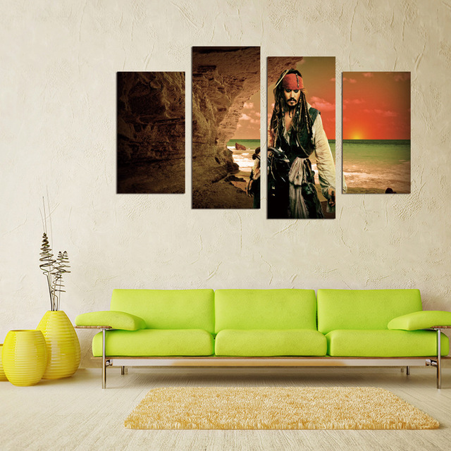 Four Pc No Frame Pirates Of The Caribbean Captain Depp Oil Painting