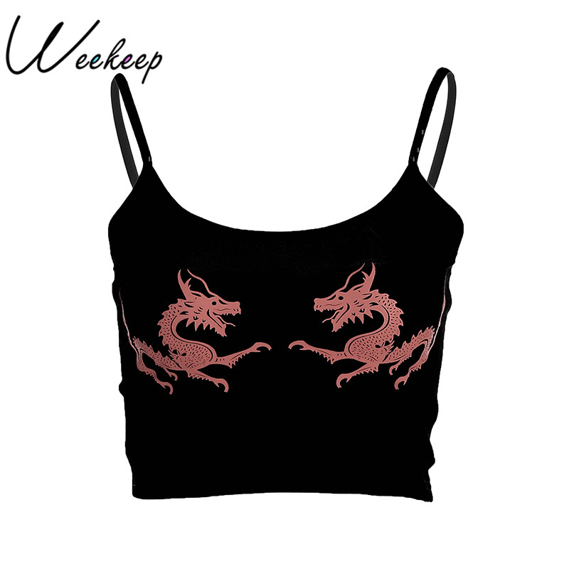 Weekeep Dragon Print Cami Summer Sexy Black Spaghetti Strap Backless Crop Top 2018