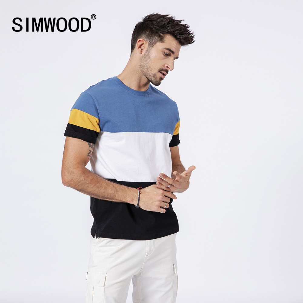 SIMWOOD 2019 Summer   t     Shirt   Men 100% Cotton Fashion Patchwork   T  -  shirt   Brand Tops Casual Tees Male camiseta Free Shipping 180626