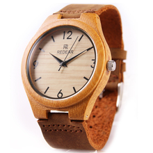 REDEAR Women Men Bamboo Wood Watches Men's Watch Genuine Leather Band Luxury Wrist Watches For Couple Best Gifts relogio P25