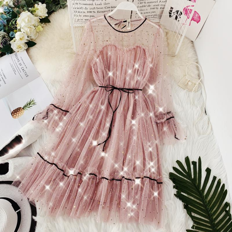HISUMA spring autumn new women Star sequins gauze flare sleeve lace-up Princess dress female elegant o-neck mesh puff dresses 29