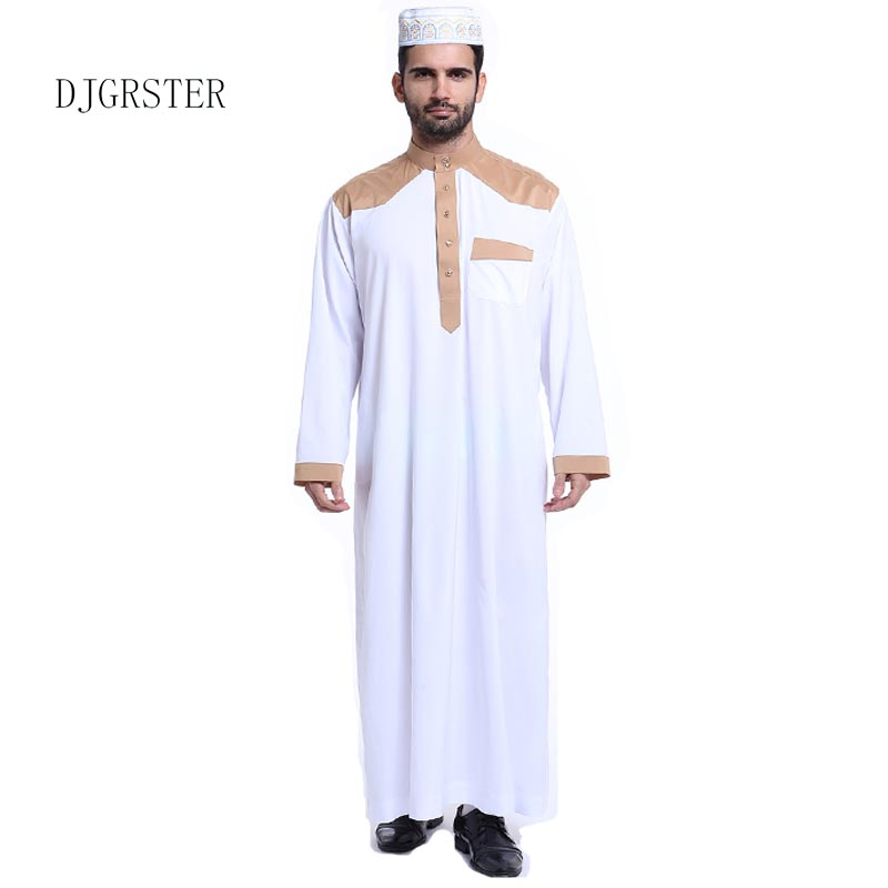 DJGRSTER Muslim clothing for Men Mens Kaftan Jubba Thobe White Abaya Arab clothing Man Islamic clothing Ropa Arabe hombre
