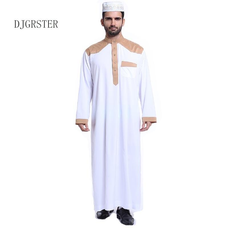 Generic Mens Pullover Muslim 2-Piece Ethnic Stitching Abaya Islamic Robes