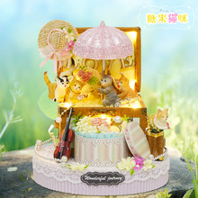 DIY Miniature Dollhouse CANDY CAT GIFT BOX with Musical Movement Kids Toy House Girls Birthday Gift Children Christmas Present