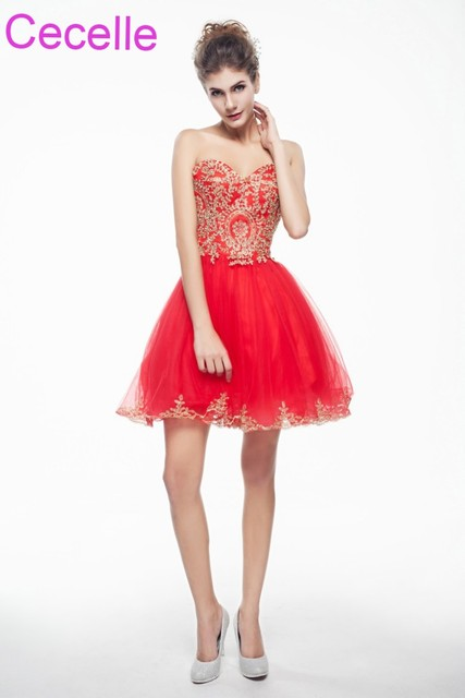 Red Gold Cute Short Cocktail Dresses 2018 Sweetheart Juniors Semi