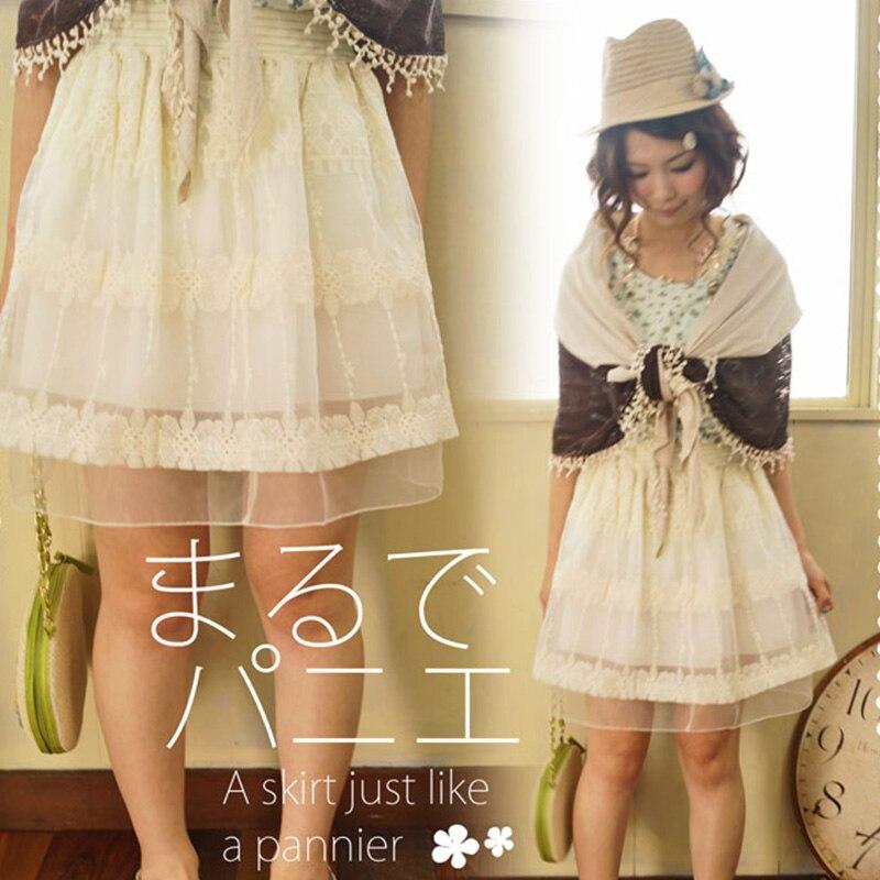 Harajuku Mori chica mujeres encaje volantes falda verano Casual Floral bordado capa de encaje Vestido princesa faldas A203-in Faldas from Ropa de mujer    2