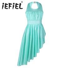 Iefiel для детей Девочка и асимметричным подолом балетные и гимнастические трико, платье для балетного класса одежда для танцоров для выступлений одежда