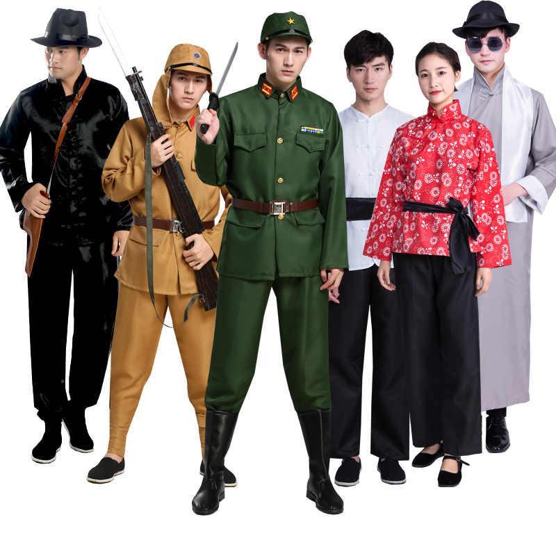 Japonês Oficial de Uniforme Do Exército Roupas Militares Da República Popular Da China Rural Tia Fase Drama de Roupas Desempenho Traje Cosplay