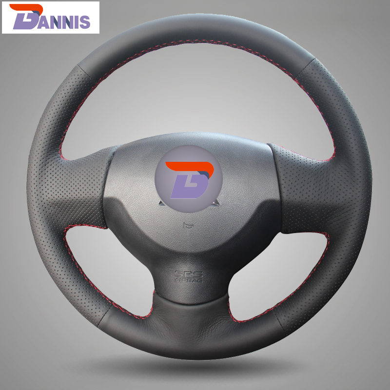 BANNIS Black Artificial Leather DIY Hand stitched Steering Wheel Cover for Mitsubishi Lancer EX 10 Lancer