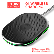 Qi Wireless Charger For iPhone 8 X XR XS Max 10W Fast Wireless Charging for Samsung S9 S8 Note 8 9 S7 Charger Pad