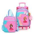 Детская школьная сумка на колесах Рюкзак с колесами школьная сумка для девочек Детский Школьный Рюкзак Студент Рюкзаки Сумки