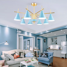 Post Modern Simple Pendant Lights Macaron Foyer Bedroom LED Hangling Lamp Colorful Metal Lampshade Art Decoration Home Lighting
