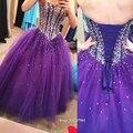 Gardlilac Real Querida Cristal Frisado Roxo Vestidos Quinceanera 2017 Barato Vestido De 15 Años Debutante vestido Pará Debutantes