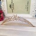 Позолоченные Свадебное Платье Невесты листьев Кубического Циркония Девушки циркон крона тиары Hairwear Для Выпускного Вечера