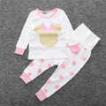 new spring Children's casual suit t-shirts and pants Fashion baby girl boy clothing set mouse cartoon design Suits 2pcs clothes