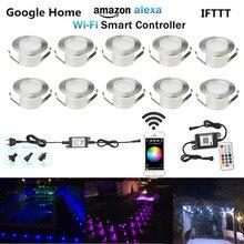 10 יח\חבילה חכם WIFI 47mm 12 V RGB עמיד למים חצר מרפסת LED סיפון רכבת מדרגות יריעות אורות שלב טלפון APP Alexa Google בית