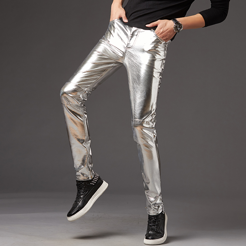 2019 Men Skinny Faux Leather Leisure Pants Black Gold Silver PU Shiny Pants Singers Club Performance On Stage Dancer Clothes