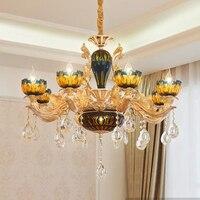 LED coloridas luzes do Candelabro de cristal de luxo europeu Estilo Italiano vitral gota luz villa sala de estar lâmpadas do Candelabro|Lustres| |  -