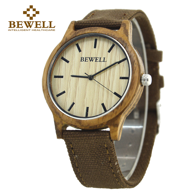 Wood Bamboo Quartz Watch For Men With Canvas Strap Bewell Top Luxury Brand Boys