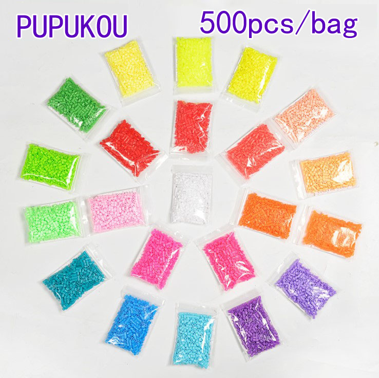500pcs/bag 5mm Perler/Hama Beads Puzzle Toys Kids Perler Education Diy Toys 3D Puzzle PUPUKOU Beads