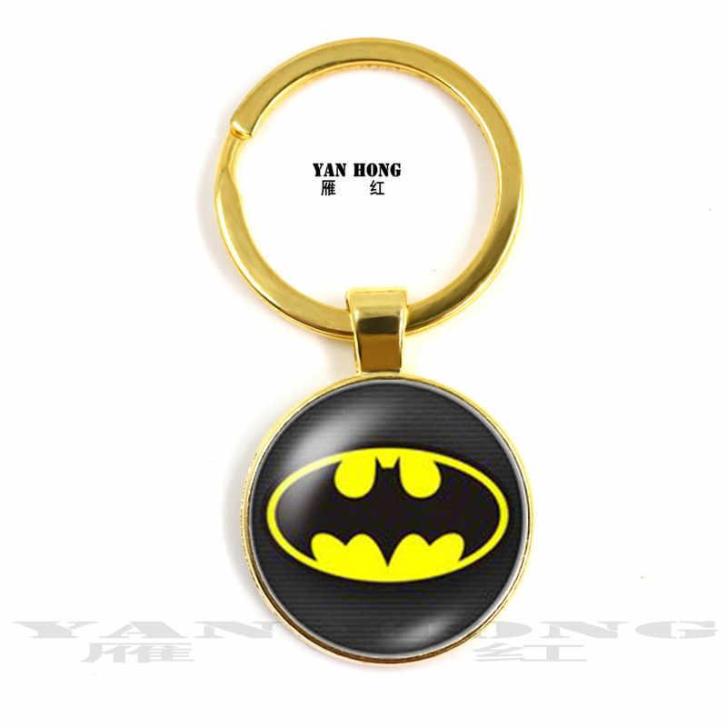 2019 YANHONG Moda Superman Batman Homem-Aranha 25 mm redondo de vidro da foto da corrente chave, hand-made